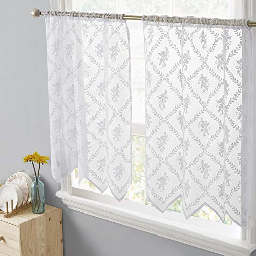 HLC.ME Isabella Floral Rod Pocket Lace Semi Sheer Voile Short Cafe Tiers for Small Windows - 30 x 36 Inch Length (White Tiers, Set of 2)