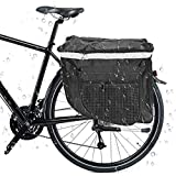 SANBLOGAN Alforja para bicicleta, doble alforja para bicicleta 3 en 1, resistente al agua, con tiras reflectantes para bicicleta de montaña y de carreras