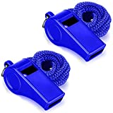 Hipat Whistle with Lanyard, 2 Packs Blue Plastic Whistles, Extra Loud Sports Whistles Great for Coach, Referee, Basketball, Lifeguard, Survival