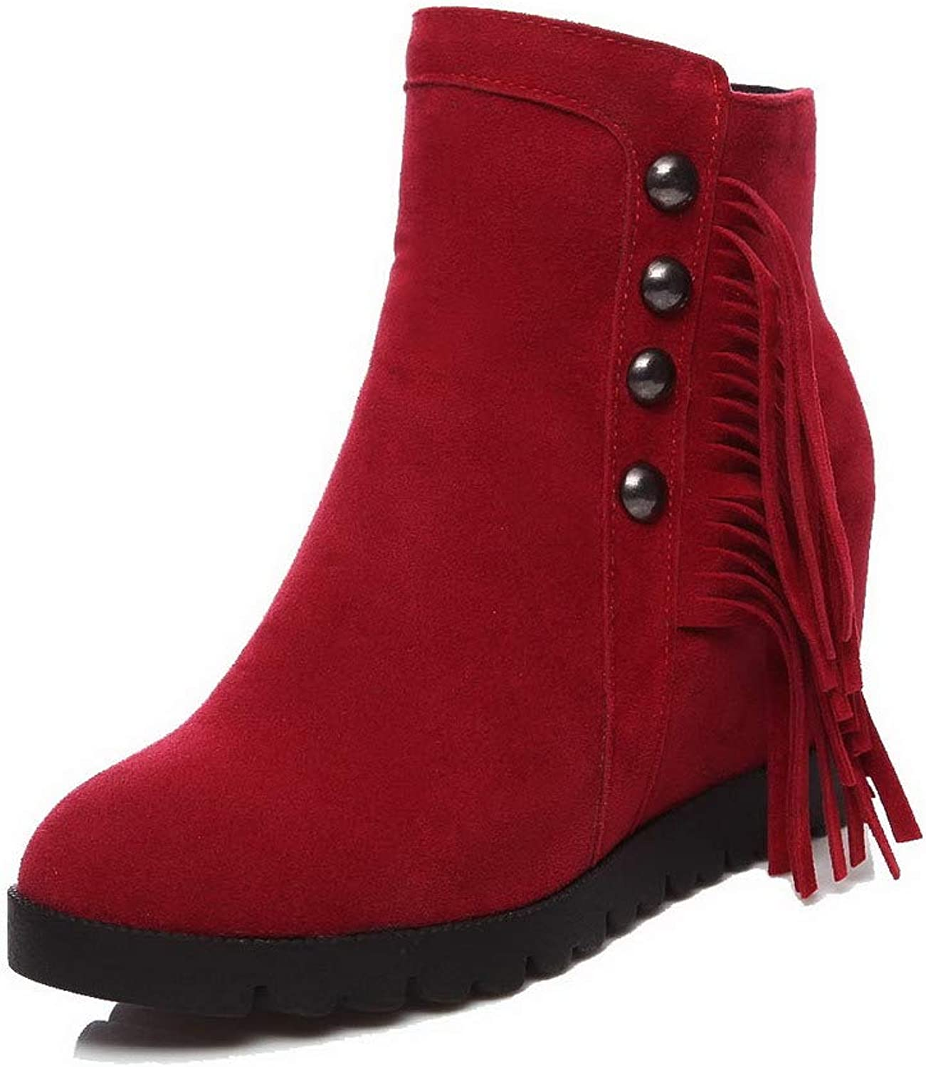 WeiPoot Women's Round-Toe High-Heels Frosted Low-Top Solid Boots, EGHXH015284