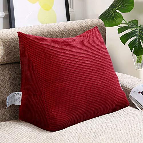 VERCART Große Sofakissen Rückenkissen Keilkissen Bettkissen Lendenkissen Kopfkissen Dreieck Wandkissen Dekorative Bett Kopfteil Gepolstert Kissen für Sofa Couch Cord 45cm Rot