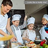 DECARETA 2 Stück Kochmütze, 2 Schürze Kinder Kochschürze Set Küchenschürze Weiße Kinderschürze Verstellbare Gillschürze 4-12 Jahre alt Kinder Backschürze Latzschürze für Kochen Basteln Malerei Backen - 6