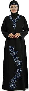 MyBatua Women's Islamic Designer Beautiful Embroidered Aatifa Abaya in Black