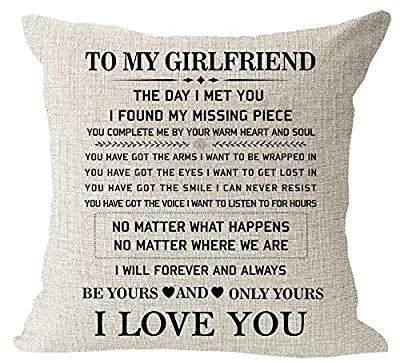 "Blessing to My Girlfriend Be Yours and Only Yours I Love You Valentine's Day Birthday Gift Cotton Linen Square Throw Waist Pillow Case Decorative Cushion Cover Pillowcase Sofa 18""x 18"""