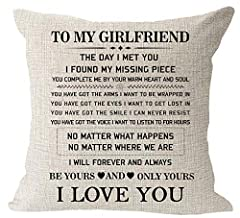 Blessing To My Girlfriend Be Yours And Only Yours I Love You Valentine's Day Birthday Gift Measures 18''x18'' inches square, 45 x 45 cm,1-2cm error . This cushion cover has an invisible zipper,Safe to machine wash.Print just on ONE side Environmental...