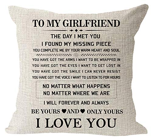 Blessing to My Girlfriend Be Yours and Only Yours I Love You Valentine's Day Birthday Gift Cotton Linen Square Throw Waist Pillow Case Decorative Cushion Cover Pillowcase Sofa 18'x 18'