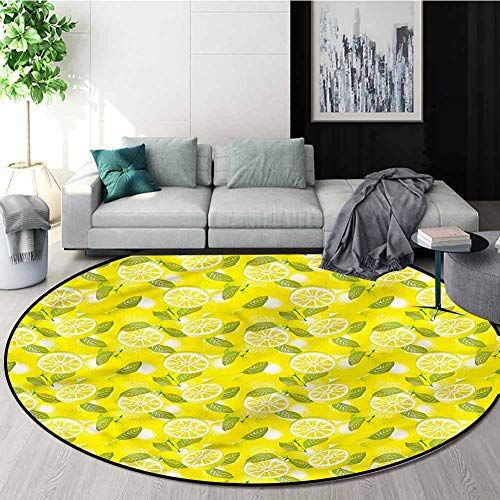 Sale!! RUGSMAT Spring Modern Flannel Microfiber Round Area Rug,Fresh Lemons with Leaves Perfect for ...