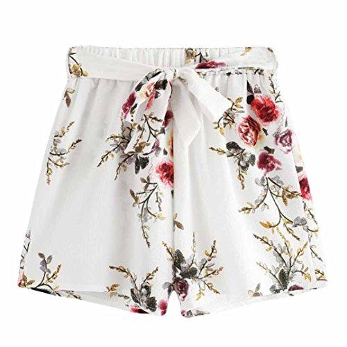Shorts Damen Sommer Locker Luckycat Spitzen Shorts für Frauen Shorts Hose Sommerhosen Pants Hosen (A-006 Weiß, X-Large)