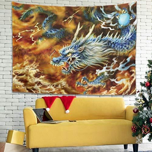 Tapiz tradicional japonés, dragón blitz Bewölkt Berg Paisaje impresión pared pared Místico blanco 150 x 130 cm