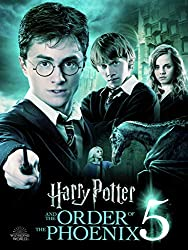 Promotional image for Harry Potter and the Order of the Phoenix showing Harry pointing wand and Ron and Hermione in the background