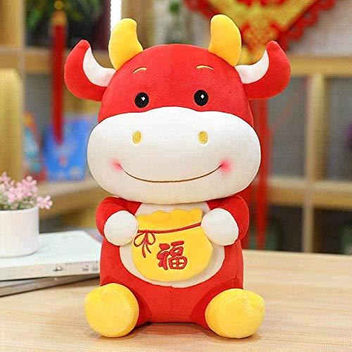 NC87 Juguete de Felpa Año Nuevo Kawaii Traje Chino Mascota Vaca Peluche Traje Chino Bolsa de la Suerte Buey Juguete de Peluche Año Nuevo Chino Decoración de Fiesta Regalo 22cm Rojo
