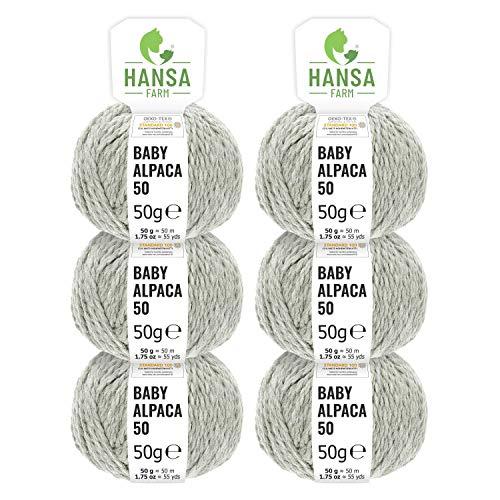 100% lana de alpaca en más de 50 colores (no pica) - Set de 300g (6x 50g) - Suave hilo baby de alpaca para punto y ganchillo en 6 grosores - gris argentado