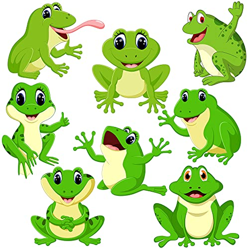 48 Pieces Funky Frogs Cut-Outs Cute Frog Accent Bulletin Board Cut-Outs Spring Bulletin Board School Classroom Cutouts Summer Fall Theme Party Cool Jumping Frogs Cutouts with Glue Point Dots
