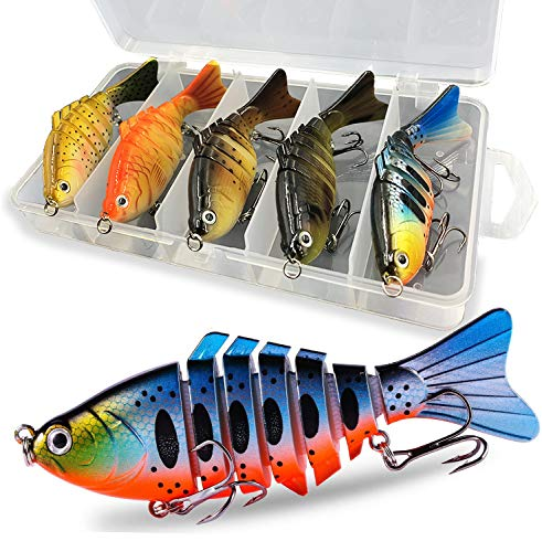 Liraip Fishing Lures for Bass, Trout Segmented Multi Jointed Swimbaits Slow Sinking Bionic Swimming...