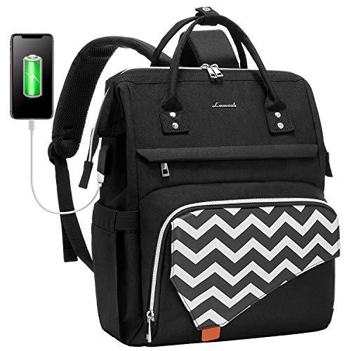 LOVEVOOK Rucksack Damen 15,6 Zoll, Laptop Rucksack Stylischer mit USB Ladeanschluss, Schulrucksack wasserdicht für Schule, Rucksack schule Anti-diebstahl mit Laptopfach, Rucksack schwarz
