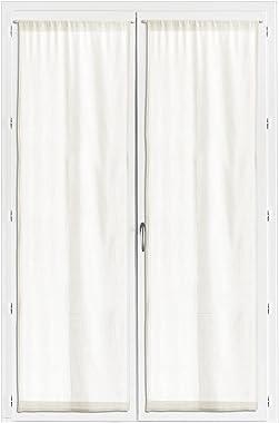 Les Ateliers du Linge – Lot de 2 Rideaux Voile Touch – Habillage fenêtre – Filtre la lumière – Panneaux tissés 100% Coton