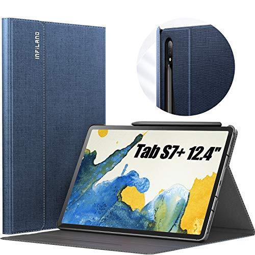 INFILAND Funda Case para Samsung Galaxy Tab S7+ 12.4(SM-T970/T975/T976),Estuche Carcasa Ligera para S Pen,Book Cover con Auto Reposo/Activación para Samsung Tab S7 Plus 12.4 2020,Azul Oscuro