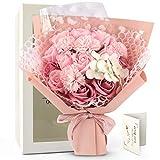 FAUHAL白い,ピンク蔷薇 優雅な姫のような ソープフラワー 七夕飾花 石鹸花 バラ 花束 入学式 誕生日 祝い 記念日 母の日に プレゼント 鑑賞物 結婚祝い デートバレンタインデー 定年祝い 新築祝い