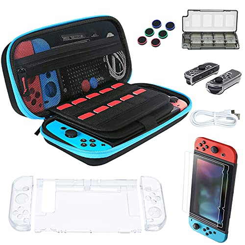 Carrying Case for Nintendo Switch, Protective Hard Shell Switch Carry Case Pouch, Fit for Switch Console and Accessories Hold 20 Game cards Include Switch Screen Protector Thumb Grips Caps, Blue/Black