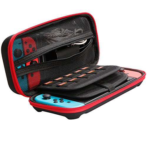 Hank Leandro Switch Case EVA Hard Shell Portable Travel Bag for Nintendo Switch, Storage 20 Game Cartridges Console & Accessories