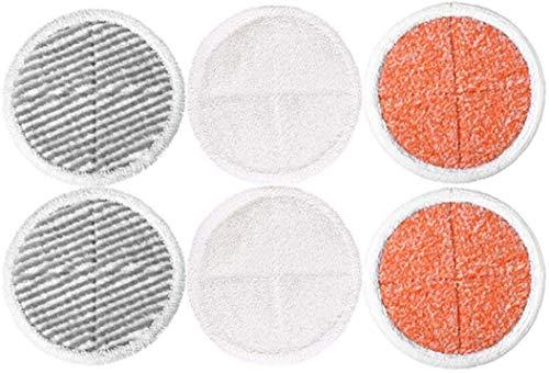 QIBIN Juego de 6 almohadillas para fregona Bissell Spinwave 2039A 2124 para fregona de piso, 2 almohadillas blandas+2 almohadillas exfoliantes pesadas