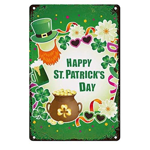 Tarfy Saint Patrick's Day Unique Retro Weinlese-Blechschild-Dekorations-Bar-Kaffee-Café-Nachmittagstee-Grill-Geschäft