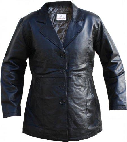 Damen Midi Ledermantel Trenchcoat Echtleder Mantel aus Lammnappa Leder Schwarz, Größe:M