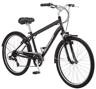 Schwinn Suburban Comfort Hybrid Bike, Featuring Step-Over Steel Frame and 7-Speed Drivetrain with 26-Inch Wheels, Medium/18-Inch Frame, Black/White (Renewed)