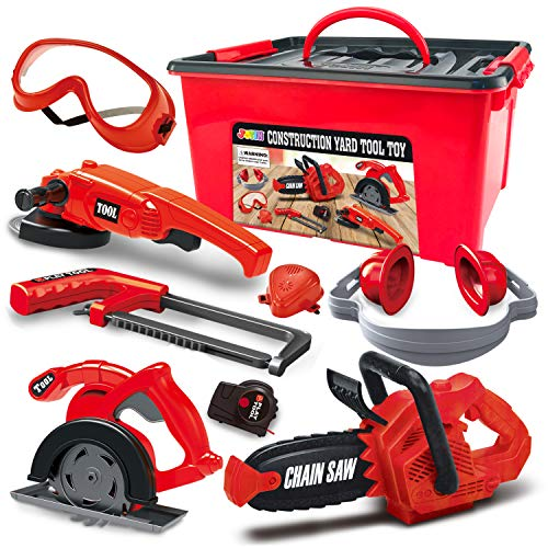 JOYIN 8 Pieces Construction Tool Toy Playset Power Backyard Constructions Tool Kit Pretend Playset Including Realistic Toy Chainsaw in Convenient Storage Box