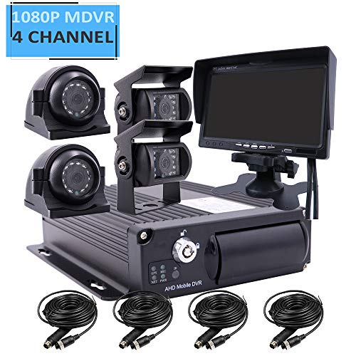 JOINLGO 4 Channel 1080P AHD Two SD 512GB Mobile Vehicle Car DVR MDVR Video Recorder Kit with IR Night Vision Waterproof Side Front Rear View Car Camera 7 inch Car Monitor for Truck RV Van Bus