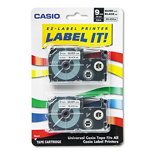 "Best Buy! ""Tape Cassettes for KL Label Makers, 9mm x 26ft, Black on Silver, 2/Pack"""