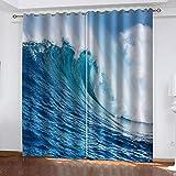 XDJQZX Cortinas para niños para dormitorio 3D grandes olas azules impresas 79 x 84 pulgadas, 2 paneles con aislamiento térmico y reducción de ruido, cortinas para salas de estar/guardería con ojales