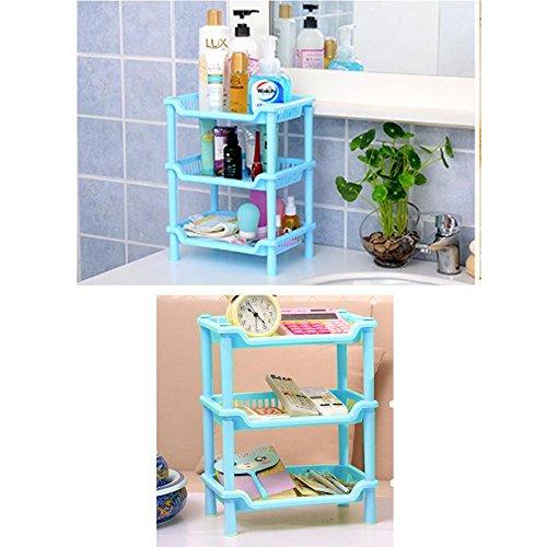 Vepson Multifunctional Detachable 3 Layer Rectangular Plastic Bathroom Organizer Kitchen Shelf Shelves Storage Rack