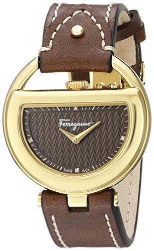 Salvatore Ferragamo Buckle dameshorloge met donkerbruine wijzerplaat met 4 diamanten en donkerbruine leren armband FG5060014