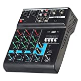 Viudecce F4 Portable Audio Sound Mixer with Sound Card 4 Channel Mixing Console USB for Music Production, Webcast