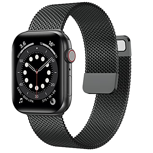OUHENG Compatible with Apple Watch Bands 45mm 44mm 42mm 41mm 40mm 38mm, Magnetic Stainless Steel Mesh Loop Metal Band Strap for iWatch Series 7/6/5/4/3/2/1 SE (Space Gray, 45mm 44mm 42mm)