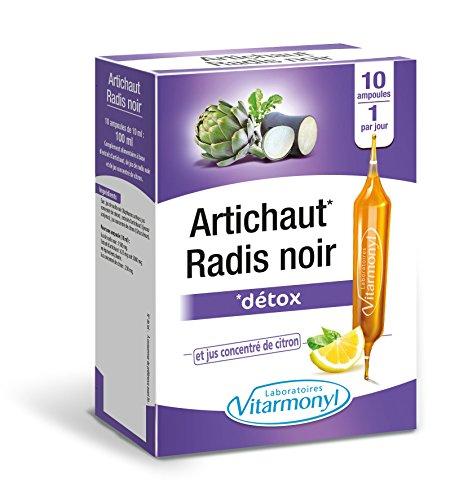Vitarmonyl - artichaut radis noir – complément alimentaire detox draineur et confort intestinal – 10 ampoules - Fabriqué en France