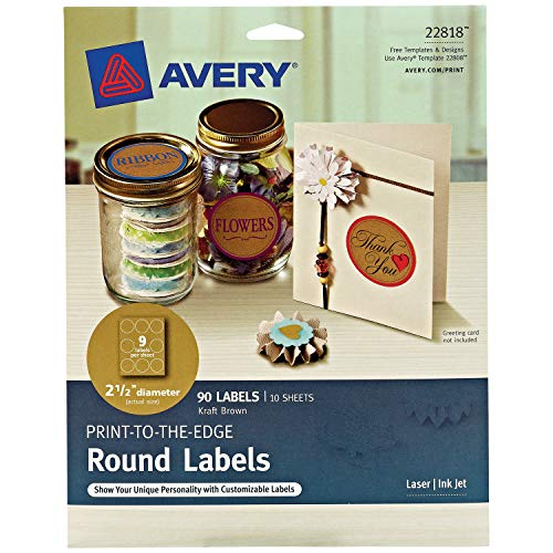Avery Round Labels for Laser & Inkjet Printers, 2.5', 90 Kraft Brown Labels (22818)
