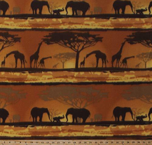 Fleece (not for masks) African Safari Animals Elephants Giraffes Trees Savanna Wildlife Sunset Fleece Fabric Print by The Yard (A334.21)
