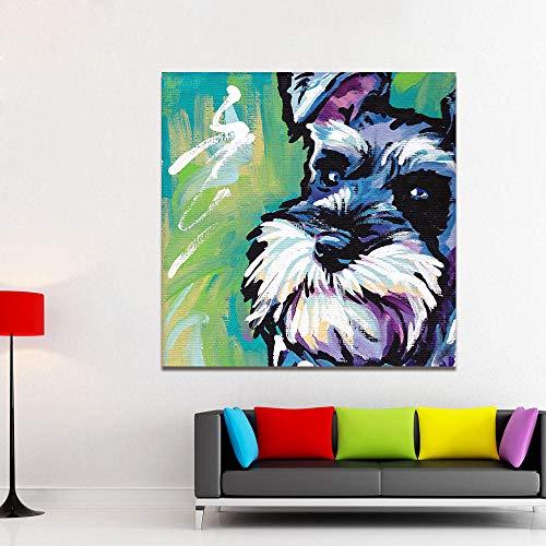 QZROOM Moderno Animal Abstracto Lienzo Arte Pintura Schnauzer Perro Pop Art Cuadros de Pared para Sala de Estar decoración del hogar Impresiones -50x50cm sin Marco