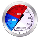 Qiorange 2' 100°F - 550°F BBQ Barbecue Charcoal Grill Pit Wood Smoker Temp Gauge Grill Thermometer,52MM Dial