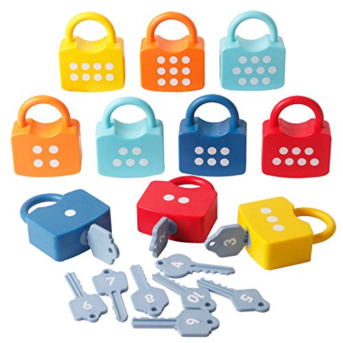 Kids Numeric Locks 123 Dots Educational Preschool Learning Keys Numbers Digital Sorting Matching Counting Games Colorful Toys for Toddlers