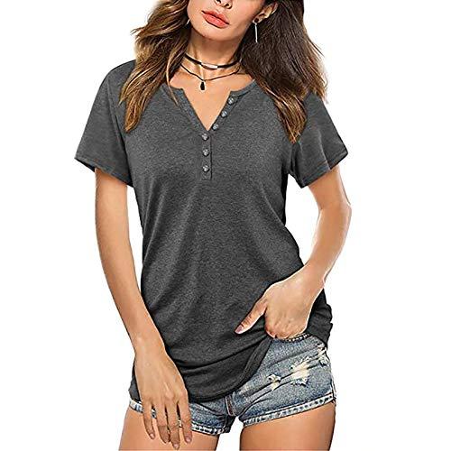 XOXSION Camiseta de verano para mujer, parte superior informal, cuello en V, camisa monocolor, corbata, blusa, hebilla, camisa, túnica, de manga corta gris L