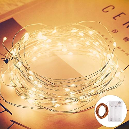 Guirnalda de hadas de alambre de cobre a prueba de agua decoración de fiesta de Navidad familiar cadena de luz LED A2 2m20 leds batería
