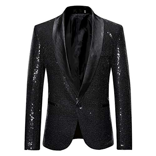 Trajes Hombre Chaquetas Americanas Charm Casual Un Botón Fit Suit Traje Blazer Abrigo Abrigo de Fiesta de Lentejuelas Chaqueta
