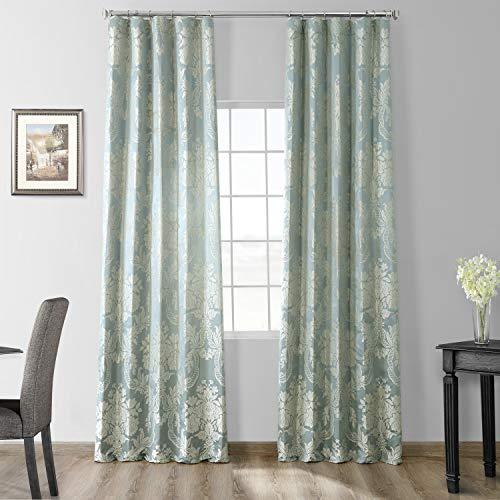 HPD Half Price Drapes JQCH-20122053-84 Designer Damask Curtain (1 Panel), 50 X 84, Steel Blue & Silver