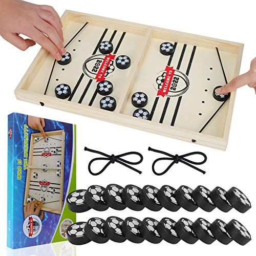 GUBOOM Brettspiel Hockey, Holz Schnelles Sling Puck-Spie, Bouncing Brettspiel, Tischhockey Katapult Brettspiel, Portable Schachbrett-Set, Partyspiele für Kinder und Familie (Fußball)