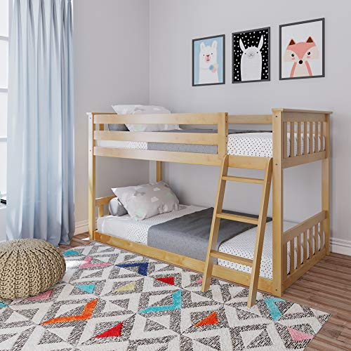 Max & Lily Low Bunk Bed, Twin, Natural