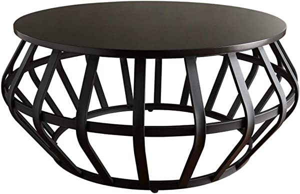 YIKE Coffee Table Creative Black Wrought Iron Round Coffee Table 3cm Thick Solid Wood Table Top Industrial Style Small Apartment Sofa Side Living Room Small Round Table Furniture