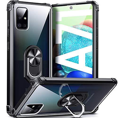 DOSNTO Samsung Galaxy A71 Hülle mit Ring Stoßfest Ständer Handyhülle Fallschutz Transparent Silikon Schutzhülle, Schwarz